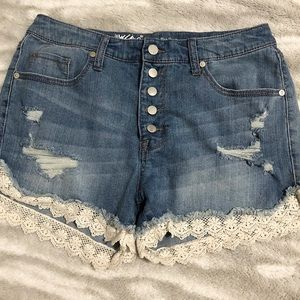 Mossimo | High Rise Distressed Lace Trim Shorts